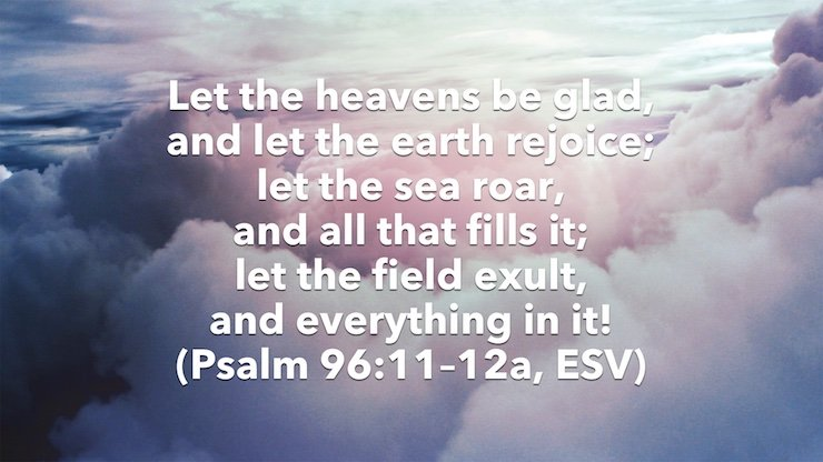 Let the heavens be glad, and let the earth rejoice; let the sea roar, and all that fills it; let the field exult, and everything in it! (Psalm 96:11–12a, ESV)