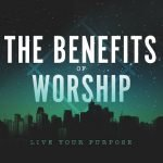 """City skyline with title """"Benefits of Worship"""""""