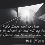 """""""Then Jesus said to them, """"Do not be afraid; go and tell my brothers to go to Galilee, and there they will see me."""""""" (Matthew 28:10, ESV)"""